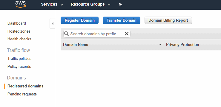 Manage domain registration