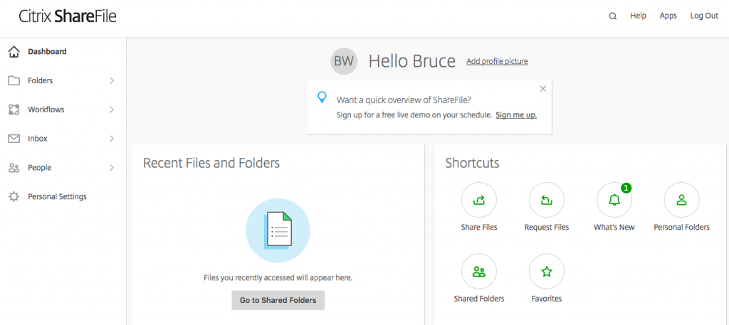 Successful login to Citrix ShareFile