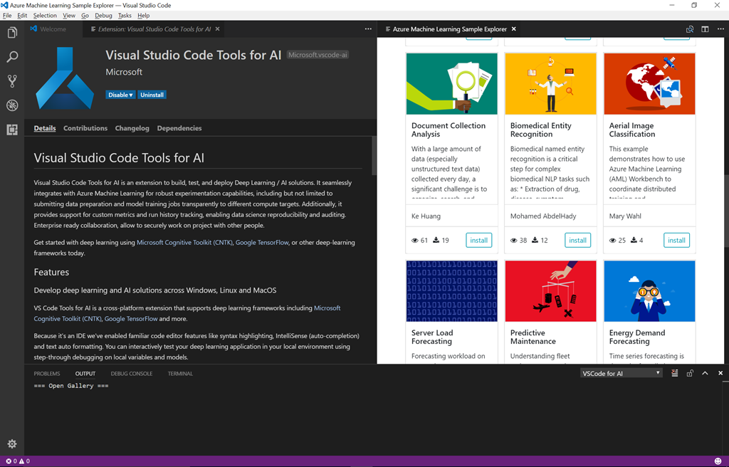 Visual Studio Code Tools for AI