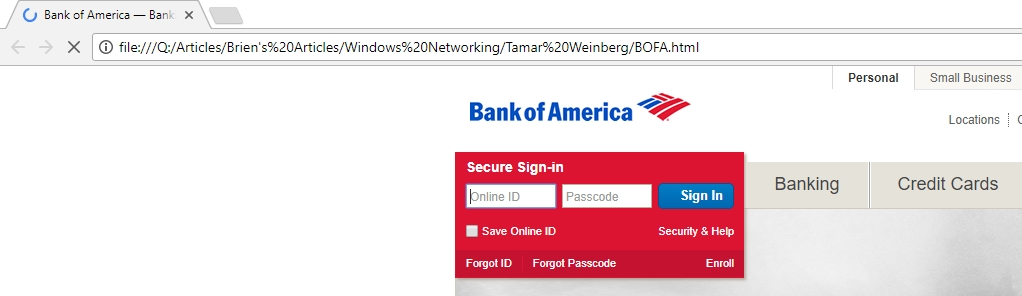 Fake Bank of America webpage