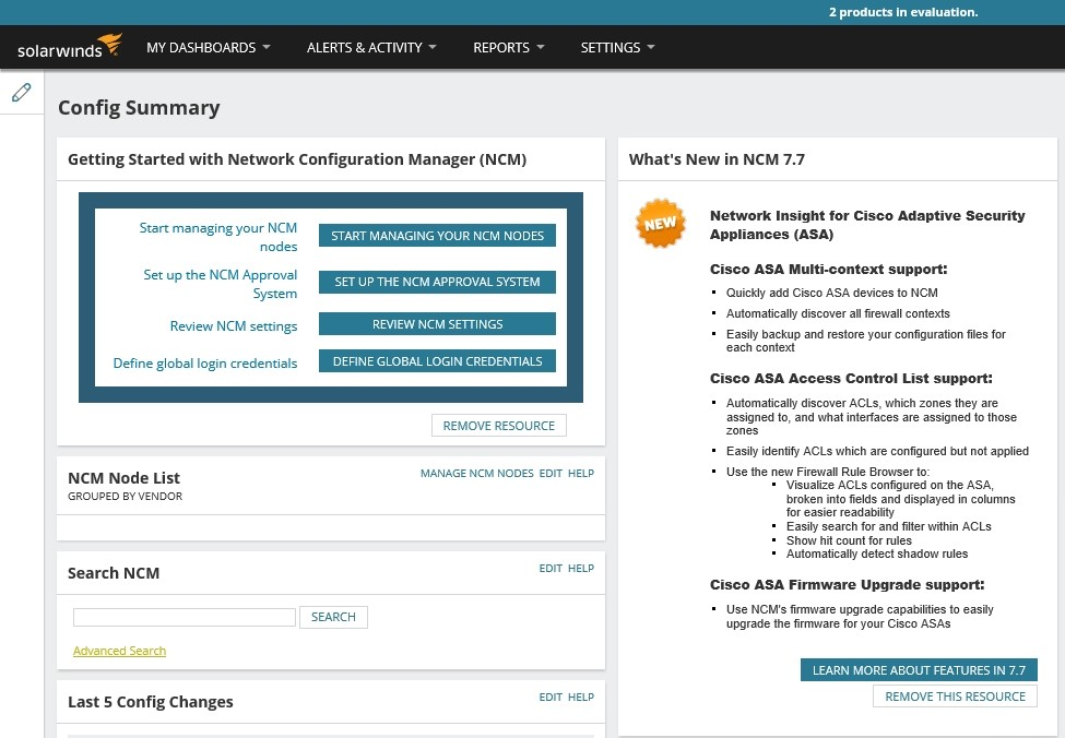 Figure B: The Orion Web Console lists the new features found in Network Configuration Manager version 7.7. © 2017 SolarWinds Worldwide, LLC. All rights reserved.