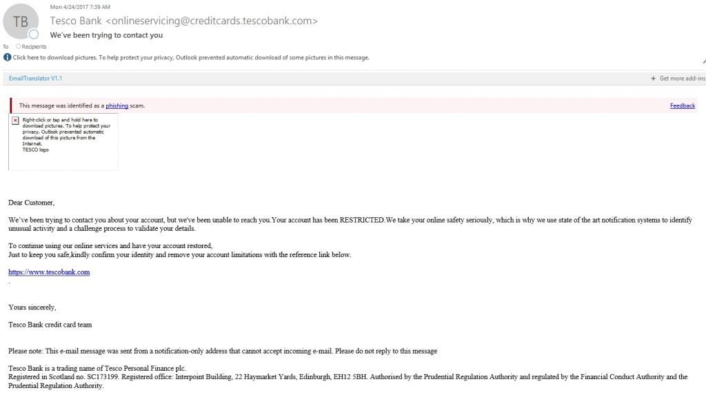 Tesco Bank scam email