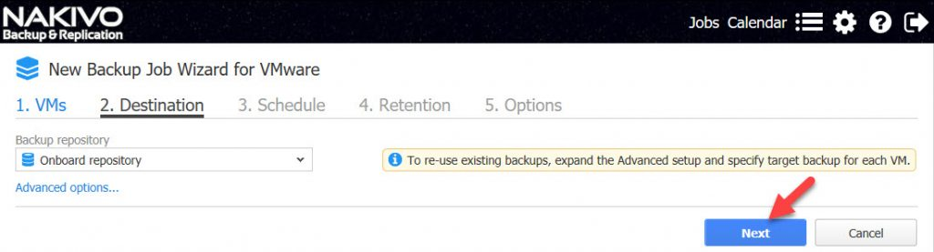 Figure 10. Backup job Destination repository management interface.