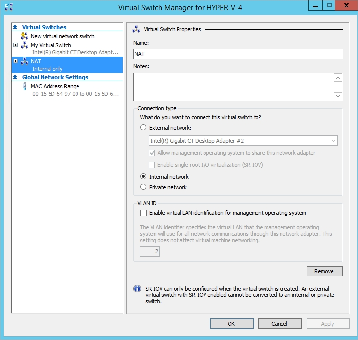Using PowerShell to create a NAT network for Hyper-V VMs
