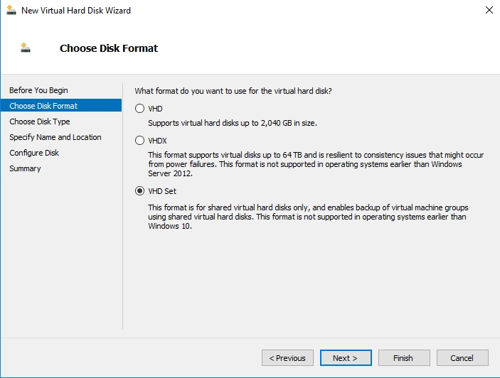 Transitioning to VHD sets to provide storage for guest clusters