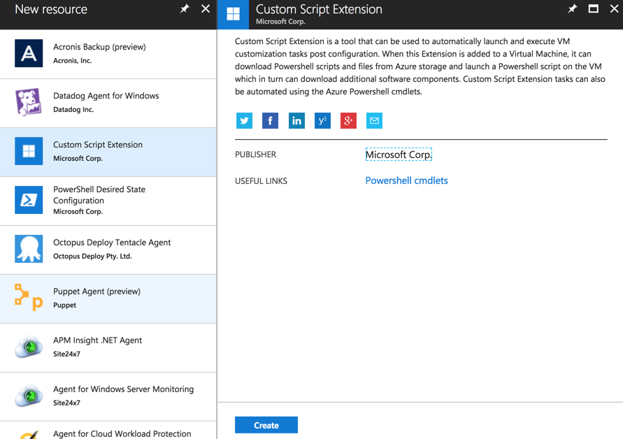 Using custom script extensions in Microsoft Azure