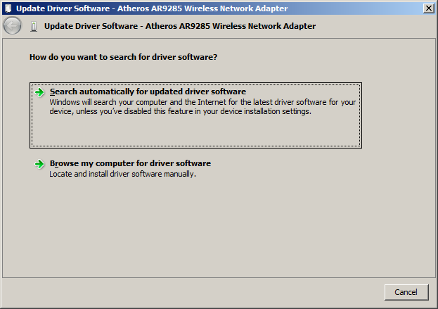Update wireless network adapter driver