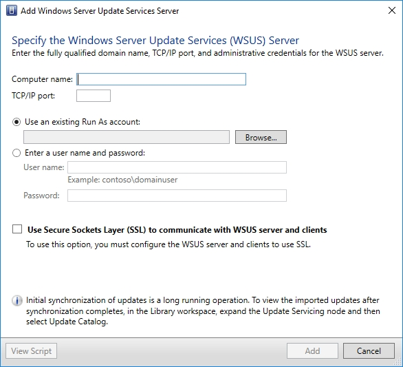 Adding a WSUS server to System Center Virtual Machine Manager