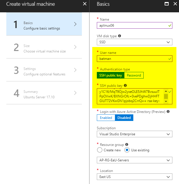 Managing Linux VM authentication in Microsoft Azure