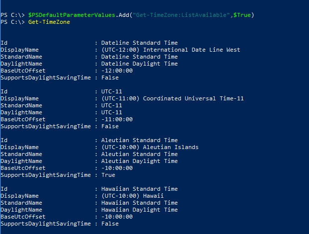 Working with PowerShell default parameters to change their