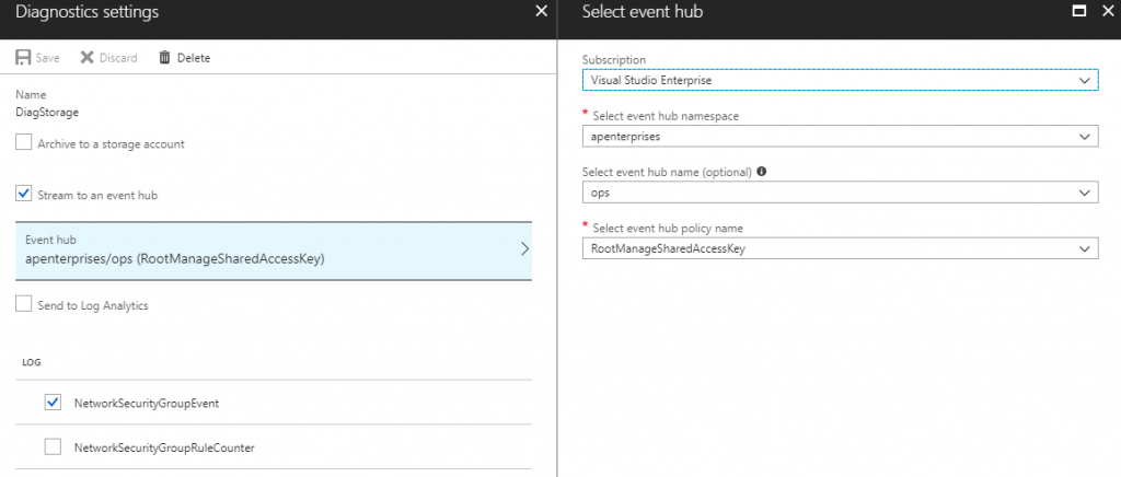azure diagnostic settings