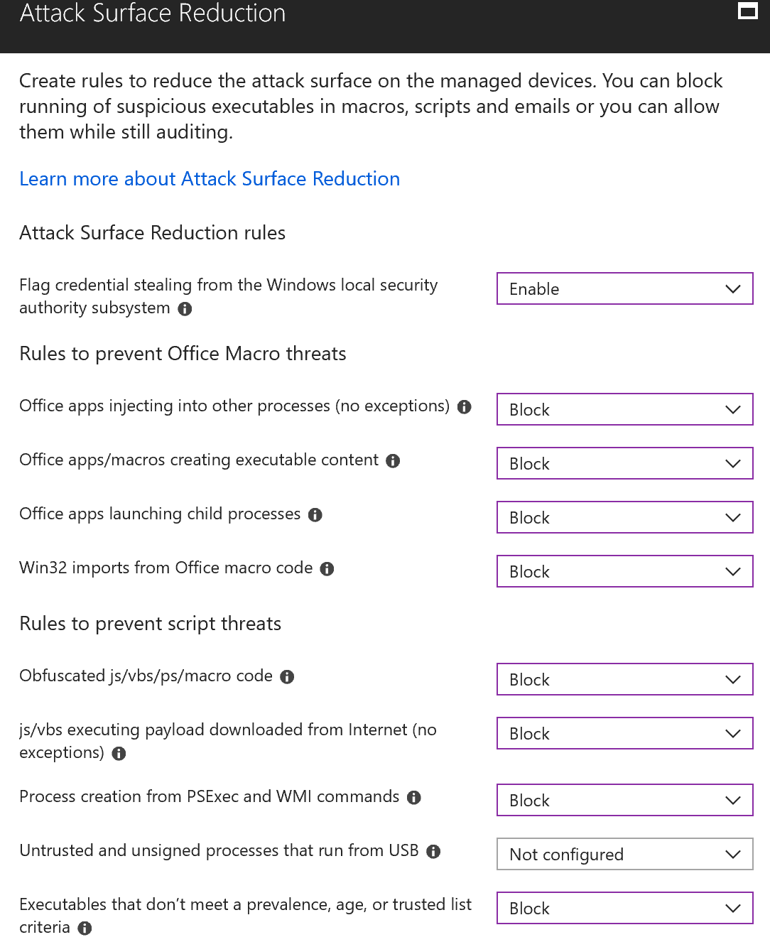 attack surface reduction settings