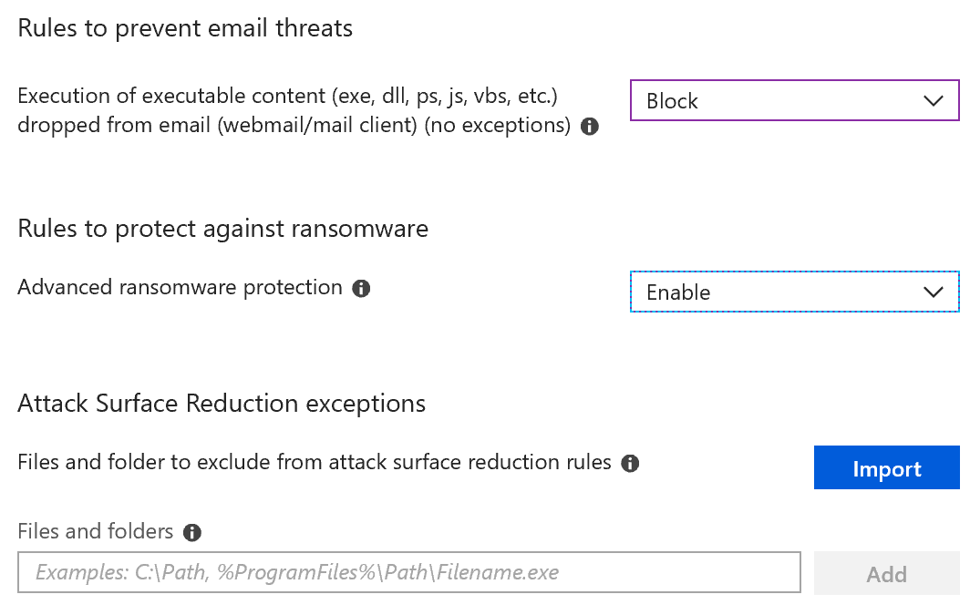email threat settings