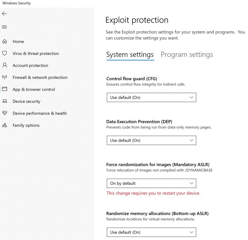 exploit protection settings