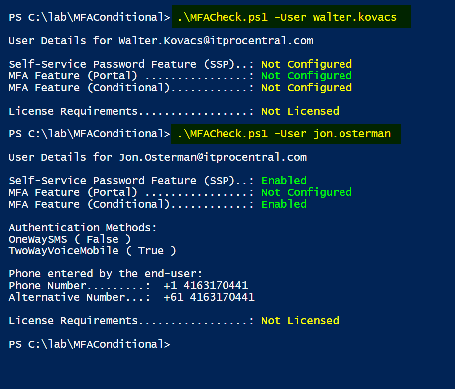 Retrieving MFA and self-service password information using PowerShell