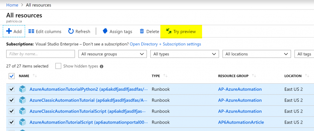 Azure preview features