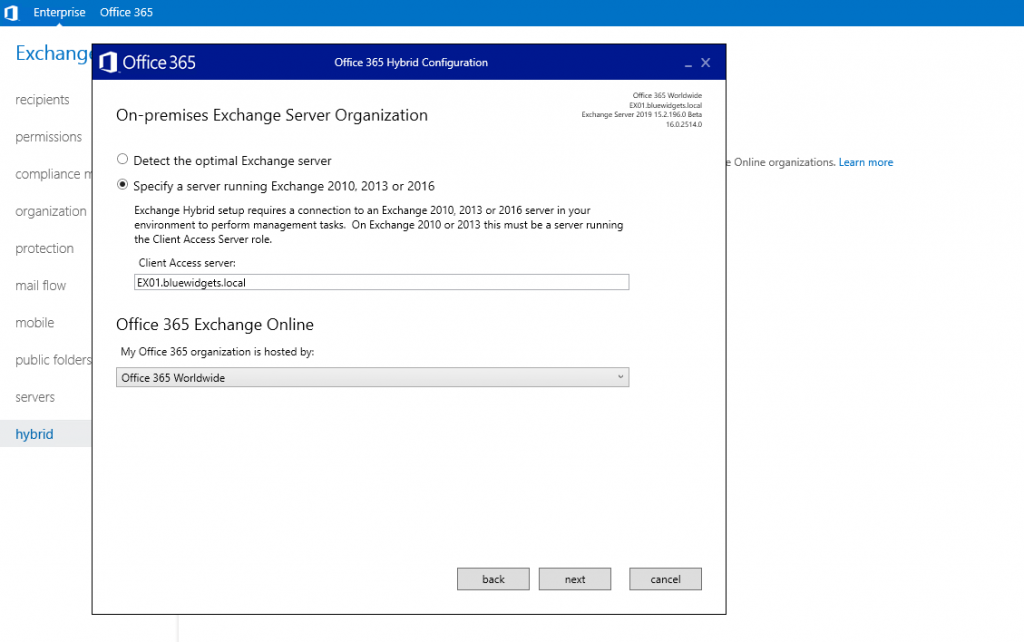 Configuring Exchange 2019 and Exchange Online in Full Hybrid mode