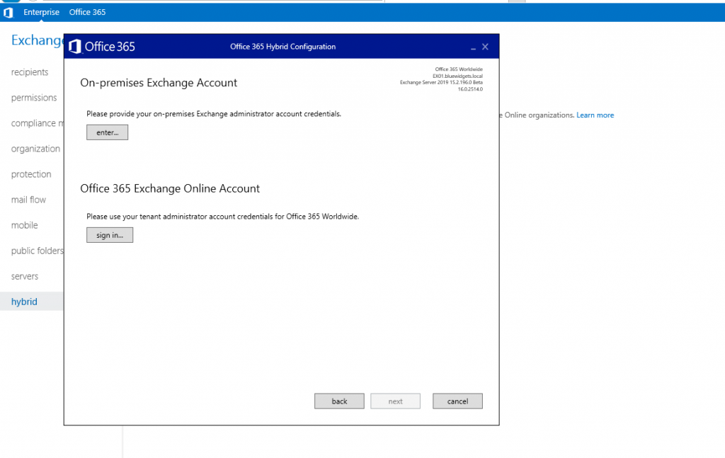 Configuring Exchange 2019 and Exchange Online in Full Hybrid