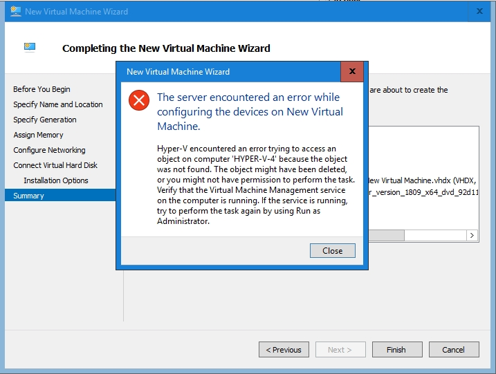 Problem solved: When Hyper-V won't boot a newly created VM