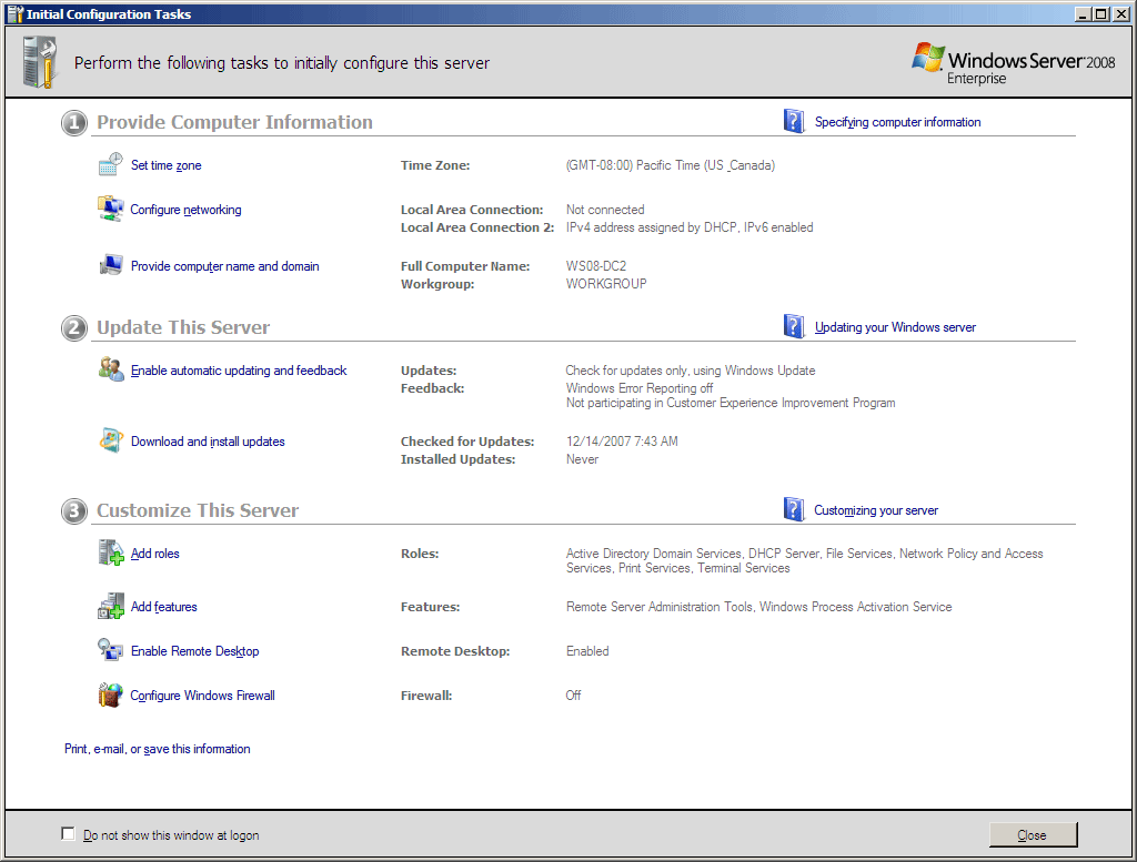 Server Manager 2003 Initial Configuration Tasls