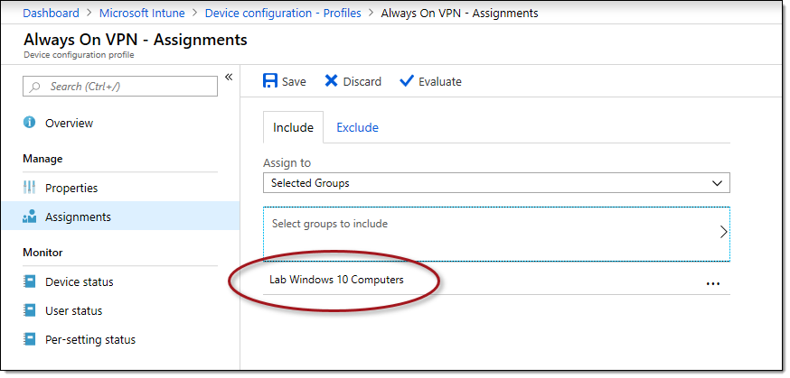Always On VPN configuration in Windows 10 using Microsoft Intune