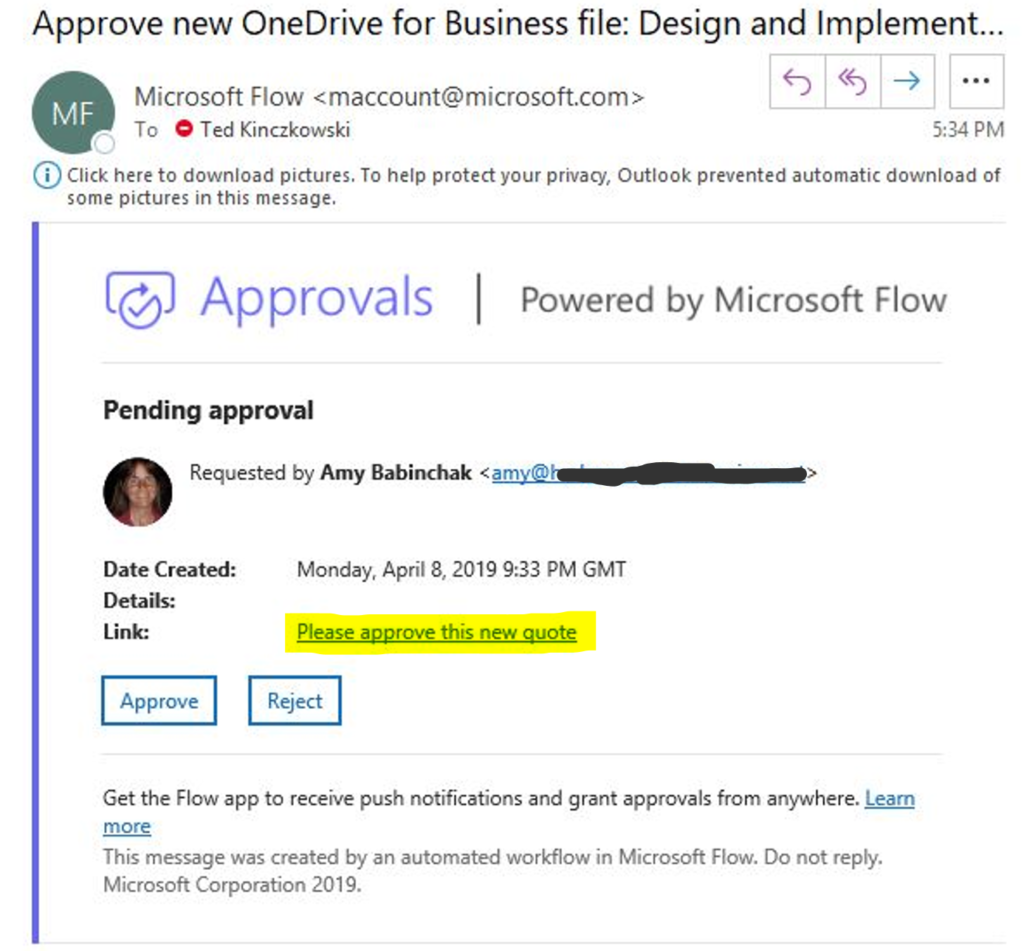 Email with approval buttons