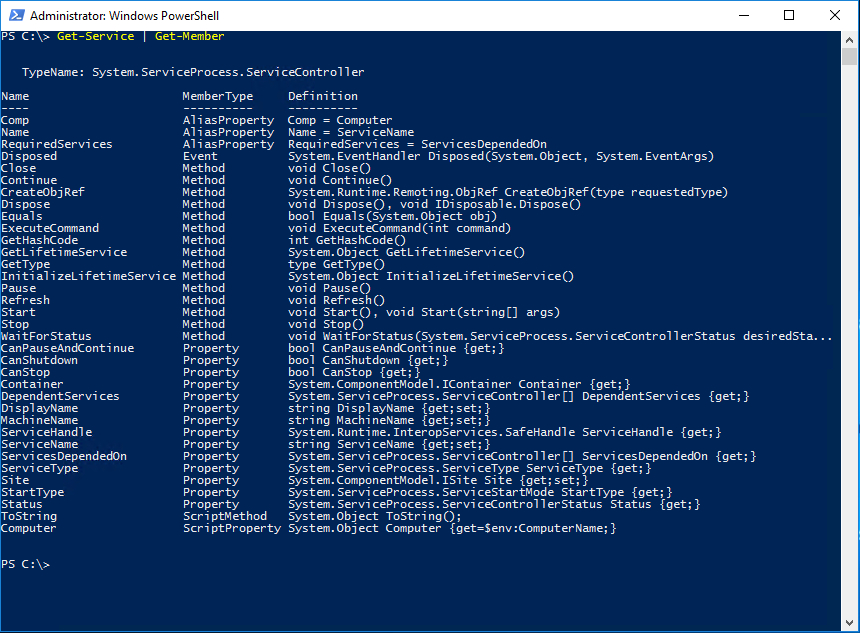 PowerShell object's type data