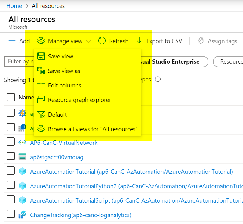 Azure Portal Managed View