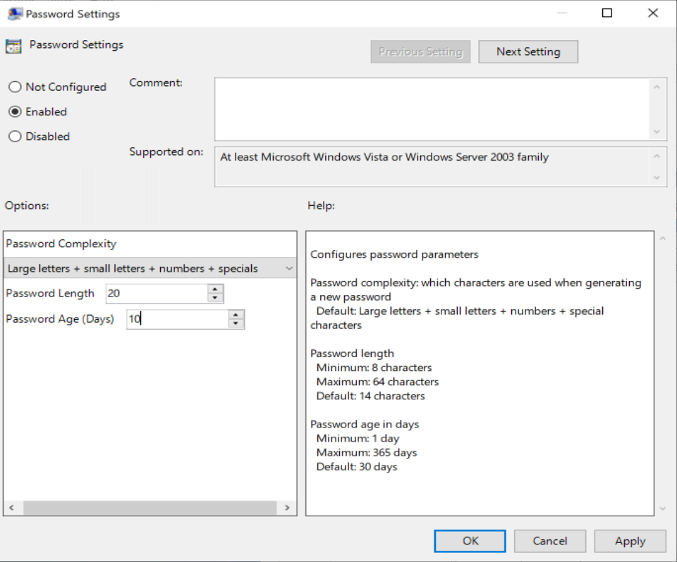 LAPS Group Policy setting