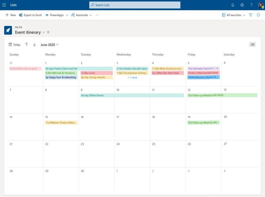 Microsoft Lists- Calendar View
