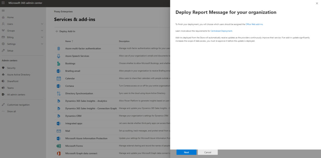 Microsoft 365 Report Message