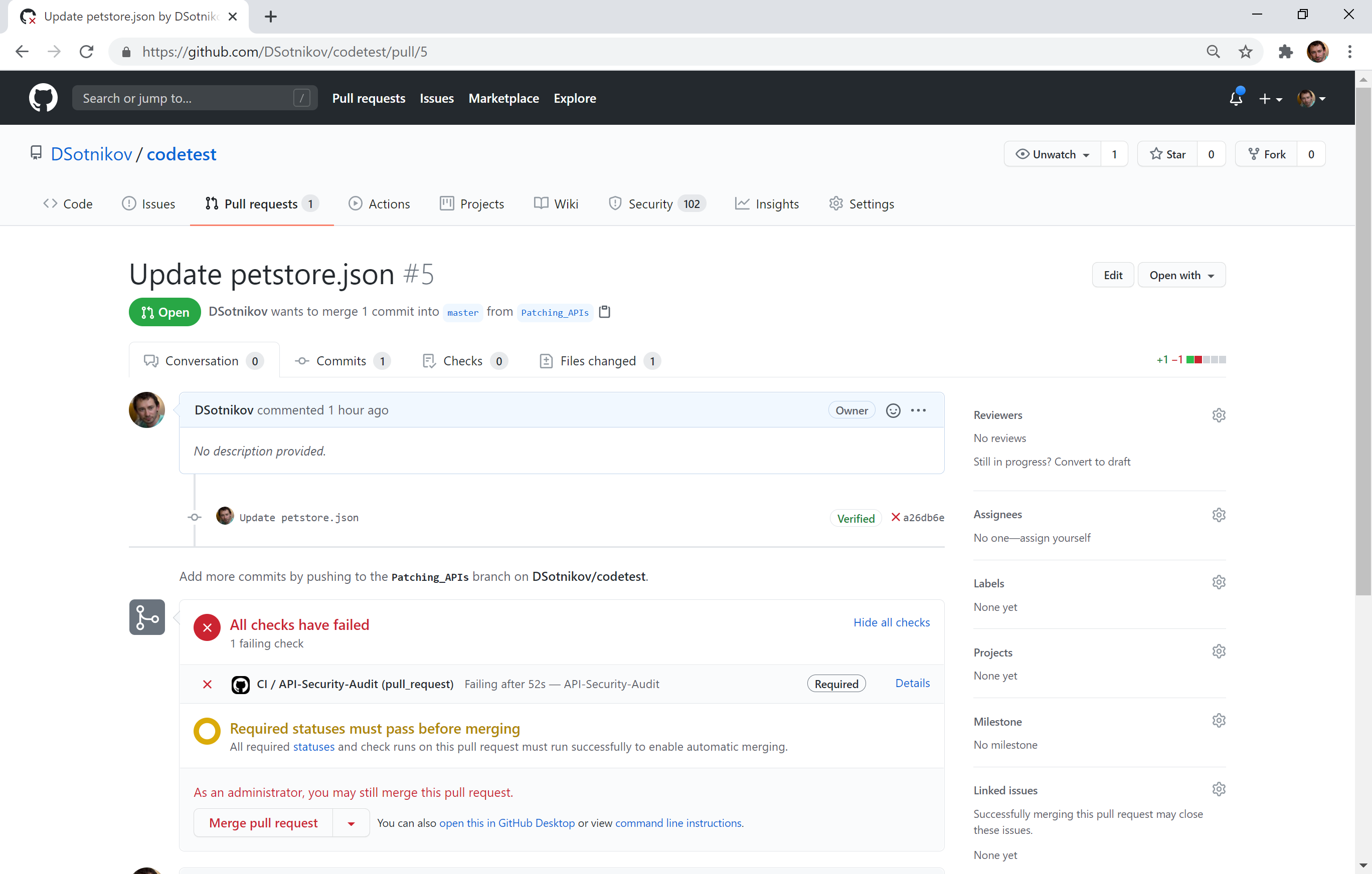 how a code change that negatively affected security of the APIs got blocked by an automated Pull Request review