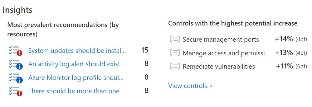 Azure Security Center Insights and Controls