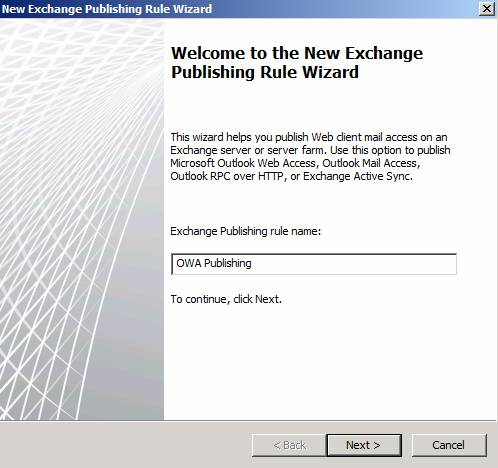 Figure 6: Exchange Publishing rule name