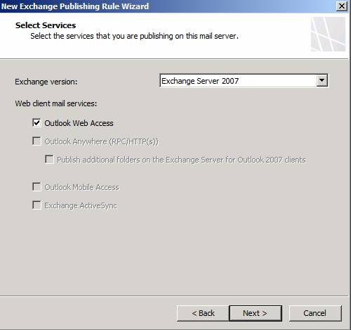 Figure 7: Publish OWA with Exchange Server 2007