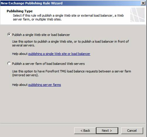Figure 8: Publish a single Web site