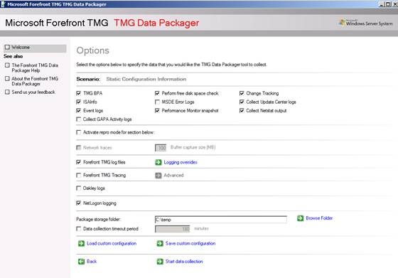 Figure 8: TMG Data packager - Options