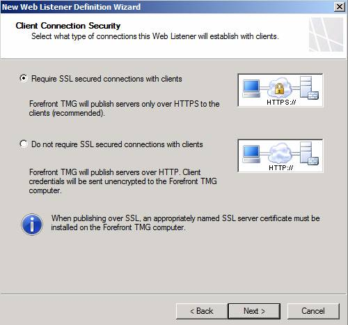 Figure 12: Require SSL for connections with clients