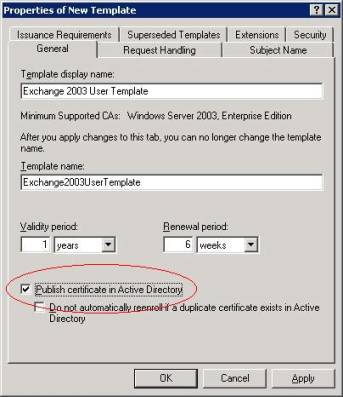 Implementing email security with exchange server 2003 techgenix figure 1 configure the publishment of certificates in ad yelopaper Gallery