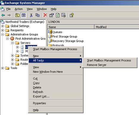 search mailbox delete exchange server 2003