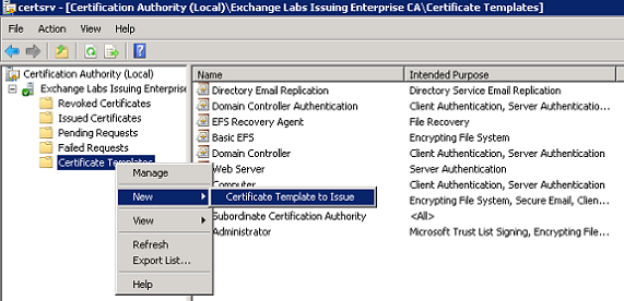 Configuring certificate based authentication for exchange 2010 figure 2 the certification authority snap in yelopaper Gallery