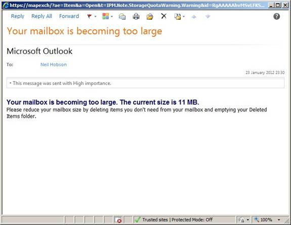 Figure 2 Mailbox Becoming Too Large Default Message