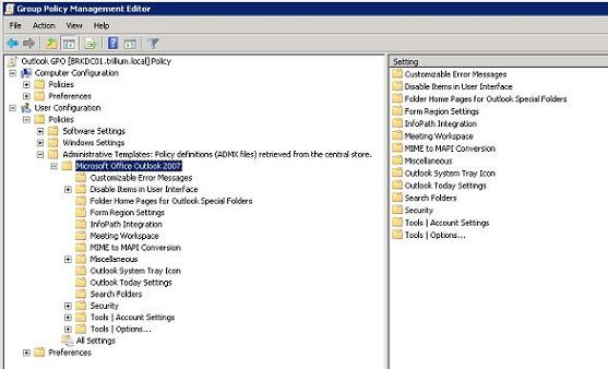 Managing Outlook 2007 through Group Policies (Part 1)