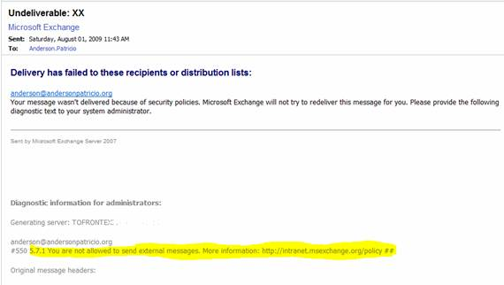 Restricting Users To Send And Receive External Messages In Exchange