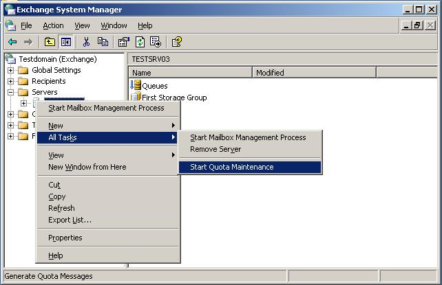 Figure 9 Doing A Manual Quota Run From The Exchange System Manager