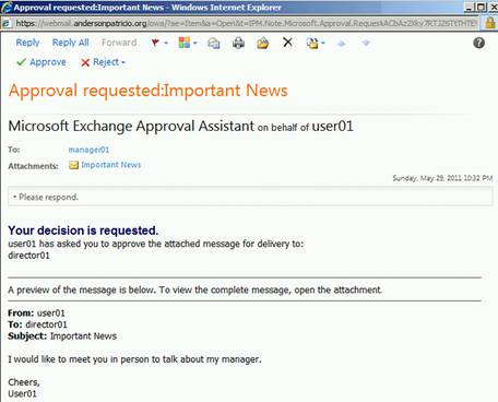 Using Transport Rules to moderate messages using Exchange Server 2010
