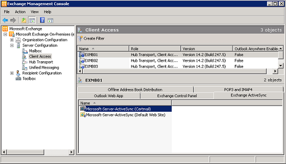 Configuring certificate based authentication for exchange 2010 figure 11 client access configuration for activesync yadclub Gallery