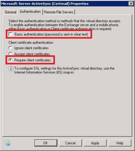 Configuring certificate based authentication for exchange 2010 figure 12 choosing the activesync authentication method yelopaper Images