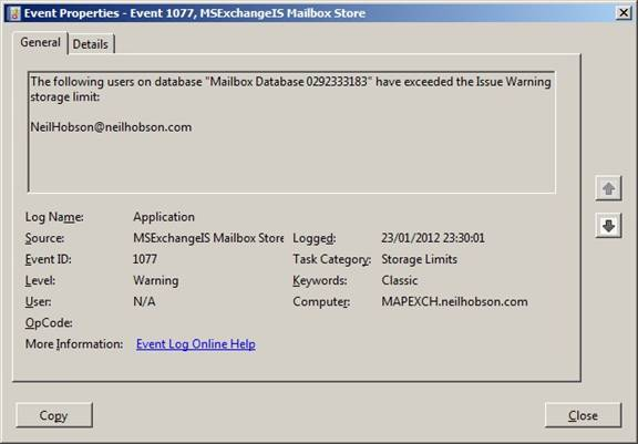Figure 2 8 Event Log Warning For A Mailbox Exceeding The Issue Threshold