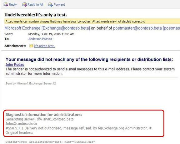 Figure 15 Sender Receives The Message With Action Of Rule Pay Attention To It Has Our Modification By MsExchangeorg Administrator